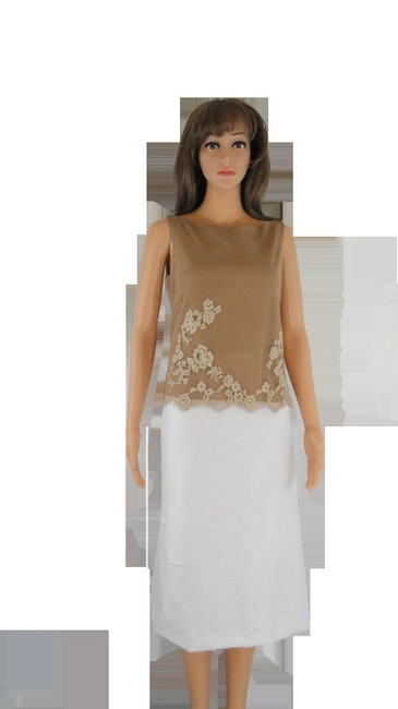 Item - Tan with Off White Anne Klein 70's Sku 000209 Tank Top/Cami Size 6 (S)