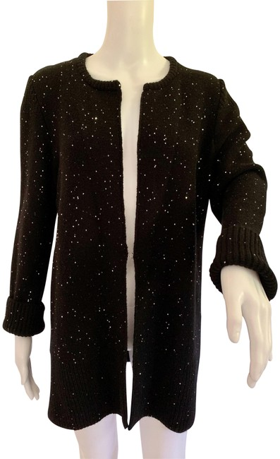Item - Black Blend Inverted Hook Silver Sequined Cardi Cardigan Size 10 (M)