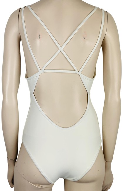 Item - White L New Space Swimsuit Criss Cross Straps High Legs One-piece Bathing Suit Size 8 (M)