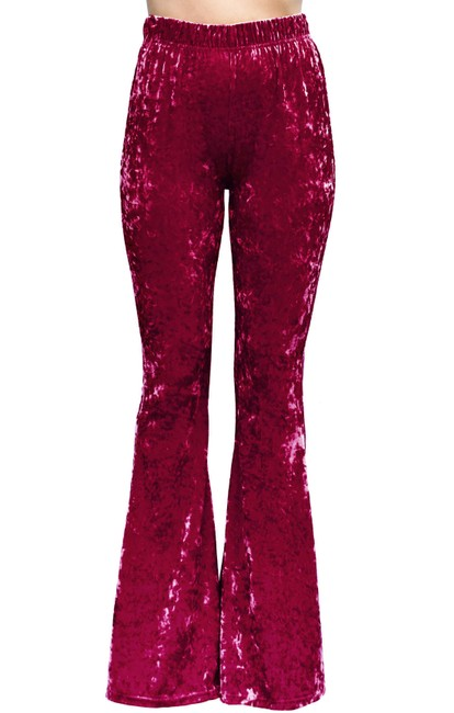 Item - Burgundy Crushed Velvet Bell Stretch High Waisted Rise 70s Pants Size 16 (XL, Plus 0x)