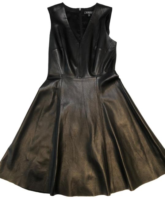 Item - Black Genuine Leather Short Night Out Dress Size 4 (S)