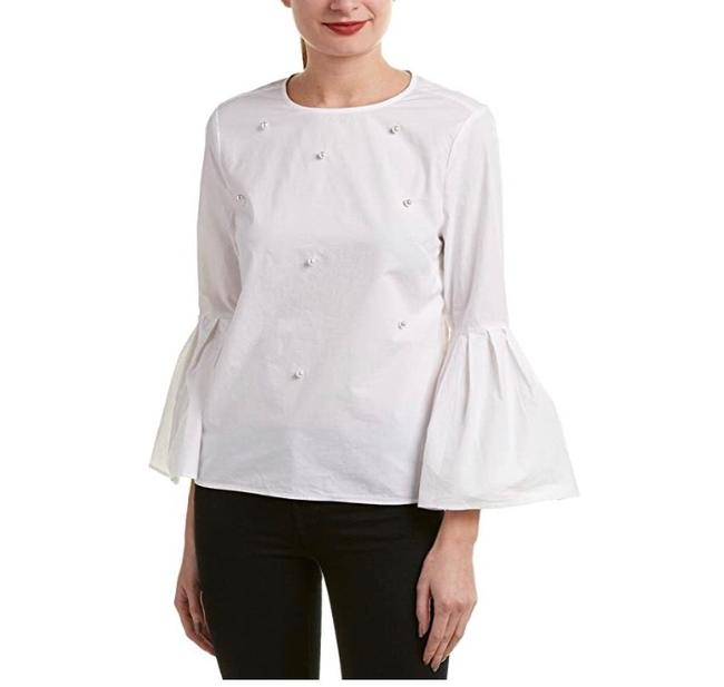 Item - White Beach Lunch Lounge Bell Sleeve Shirt Pearls Blouse Size 4 (S)