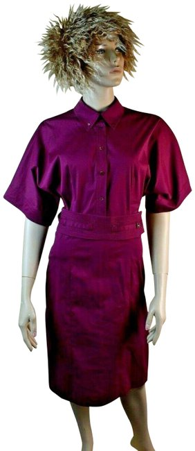 Item - Wine Kimono Cotton Sleeve Button Belted 42 Italy Mid-length Work/Office Dress Size 8 (M)