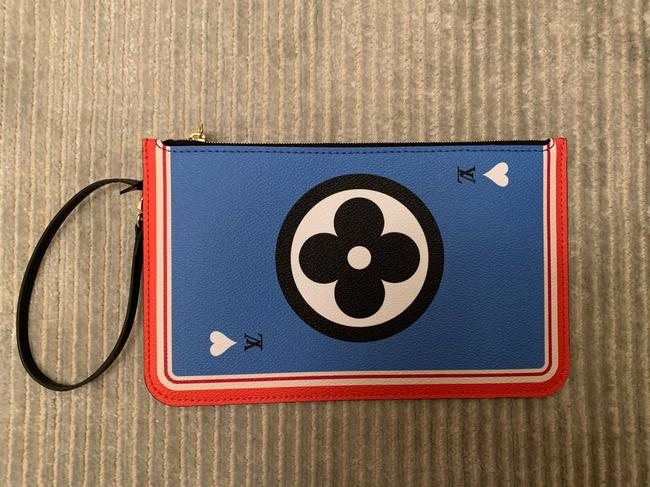 Item - Neverfull Pochette Game On Black Coated Canvas Wristlet