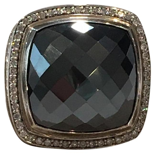 Item - Silver/Grey Albion 20mm Cushion Faceted Hematite & Diamond Ring