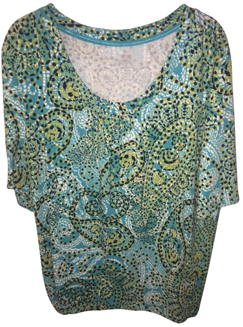Item - Blues and Greens On White Scoopneck Tee Shirt Size 26 (Plus 3x)