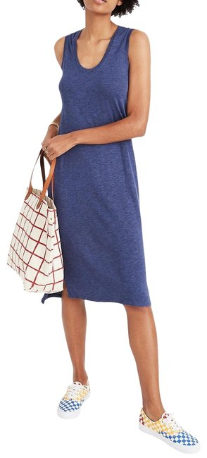 Item - Blue Jersey Scoop Neck Sleeveless Marled Knit Tank Mid-length Casual Maxi Dress Size 10 (M)