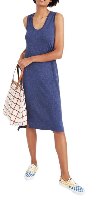 Item - Blue Jersey Scoop Neck Sleeveless Marled Knit Tank Mid-length Casual Maxi Dress Size 12 (L)