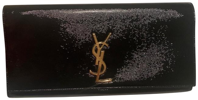 Item - Cassandre Box Mint Papers Black with Gold Monogram Ysl Hardware Calfskin Leather Clutch