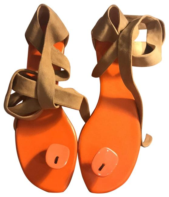 Item - Camel and Orange Lacquered Suede Wrap Sandals Size EU 40 (Approx. US 10) Regular (M, B)