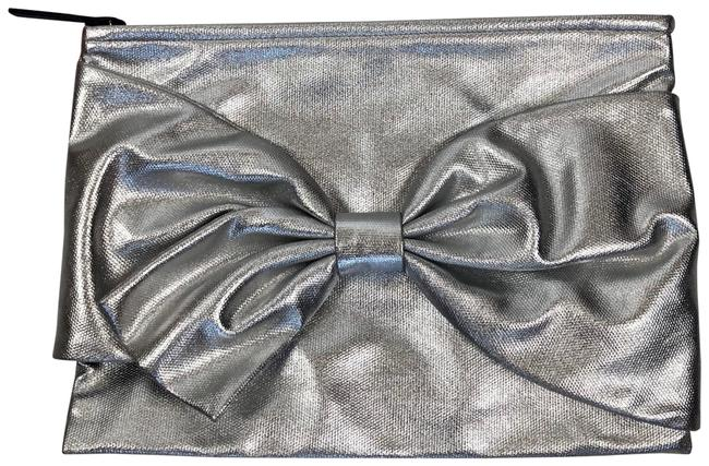 Kate Spade New On Purpose Metallic Statement Bow Canvas Purse Silver Clutch Kate Spade New On Purpose Metallic Statement Bow Canvas Purse Silver Clutch Image 1