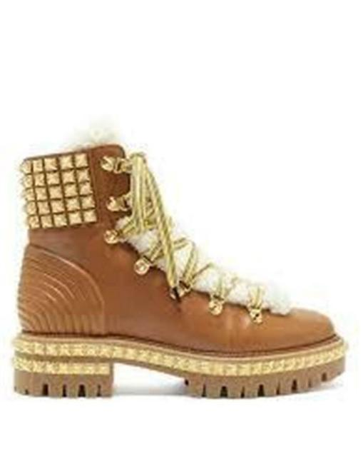 Item - Brown Yeti Studded Spike Shearling Fur Lace Up Flat Combat Hiking Boots/Booties Size EU 36 (Approx. US 6) Regular (M, B)