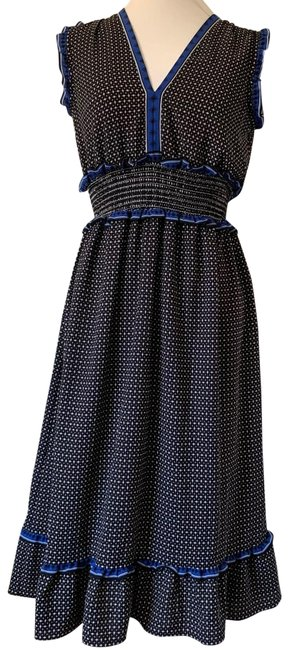Item - Black Blue White Hinged Vneck Mid-length Casual Maxi Dress Size 4 (S)