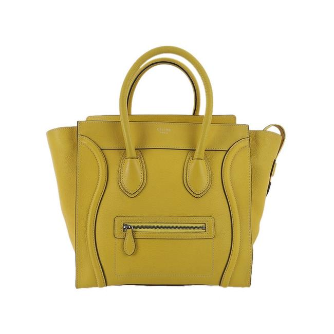 Céline Luggage Mini Handbag In Drummed Calfskin Yellow Leather Tote Céline Luggage Mini Handbag In Drummed Calfskin Yellow Leather Tote Image 1