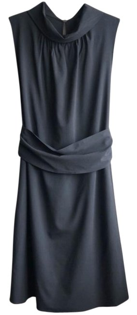 Item - Black Minimalist Fold Over Collar Sleeveless Mid-length Cocktail Dress Size 4 (S)