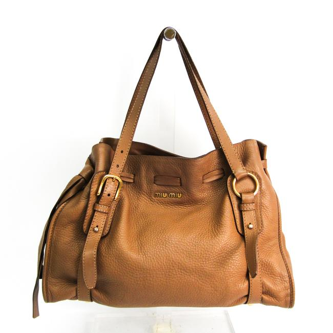 Item - Bag Side Ribbon Rr1312 Women's Brown Leather Tote