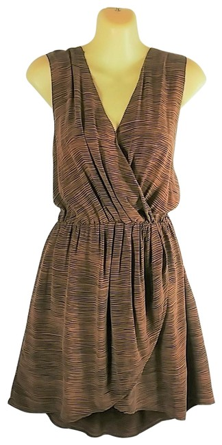 Item - Brown and Black Faux Wrap Short Casual Dress Size 8 (M)