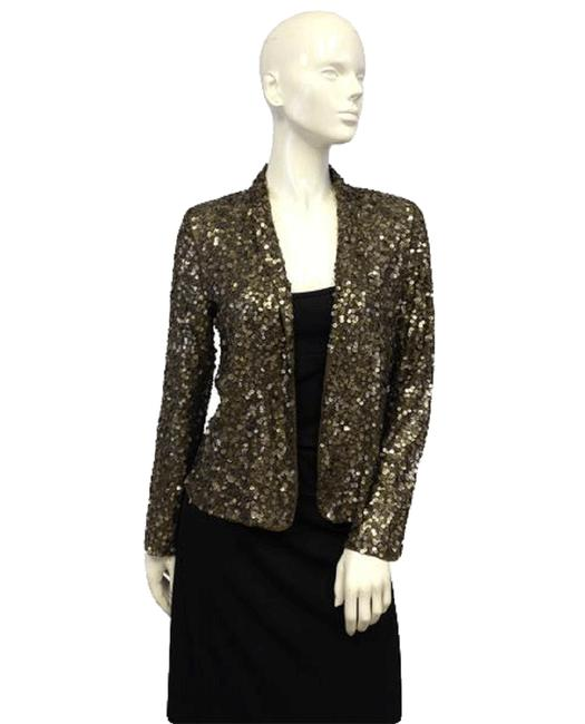 Item - Olive Green with Goldish & 80's Sequins Long Sleeves Sku Jacket Size 4 (S)