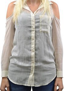 Kirra Semi-sheer Open Vanilla Stripes Glimmer Button Down Shirt White & Silver