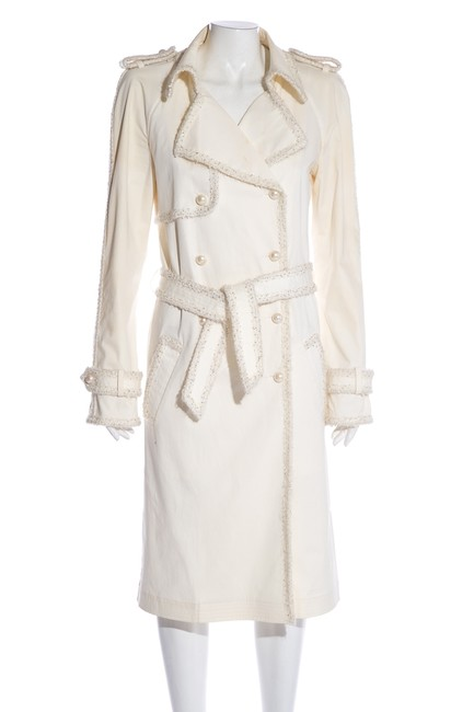 Item - White Ivory Faux-pearl Buttons Coat Size 4 (S)