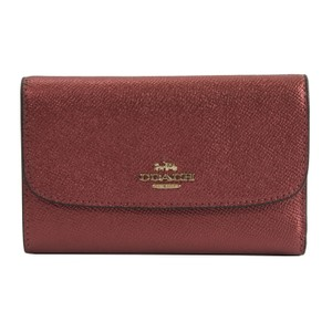 Coach Metallic Currant Red Crossgrain Leather Medium Trifold Wallet 38700