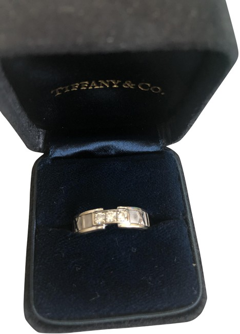 Tiffany & Co. White Gold Box 18k 3 Diamond Atlas Ring Tiffany & Co. White Gold Box 18k 3 Diamond Atlas Ring Image 1