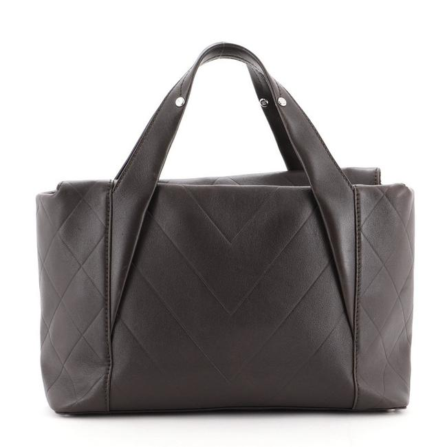 Chanel All Day Long Chevron Medium Brown Leather Tote Chanel All Day Long Chevron Medium Brown Leather Tote Image 1