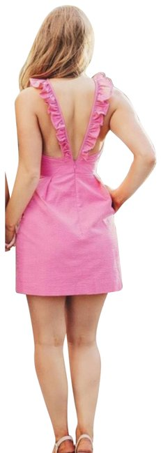 Item - Pink XS Ruffle Rose Claire Seersucker Short Casual Dress Size 0 (XS)