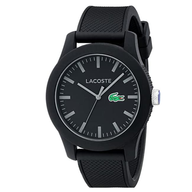 Lacoste Black Men's Lacoste.12.12 with Textured Band 2010766 Watch Lacoste Black Men's Lacoste.12.12 with Textured Band 2010766 Watch Image 1
