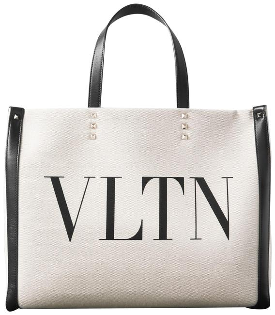 Valentino Medium Leather-trimmed Printed Canvas Tote Valentino Medium Leather-trimmed Printed Canvas Tote Image 1