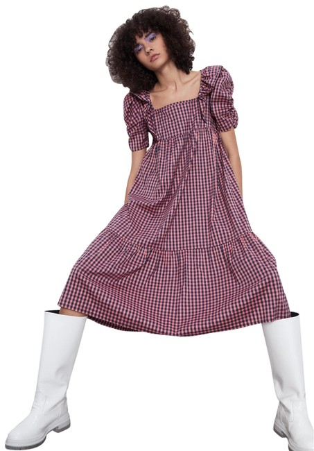 Item - Multicolor W Gingham Corduroy W/ Short Ballon Sleeves New Mid-length Casual Maxi Dress Size 6 (S)