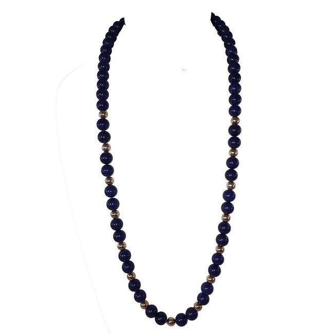 Item - Blue and Yellow Gold 14 Kt Lapis Lazuli Bead Necklace