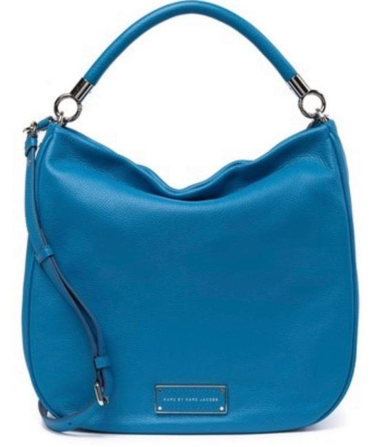 Item - Too Hot Too Handle Large (New with Tags) Turquoise Aquamarine/Silver Leather Hobo Bag