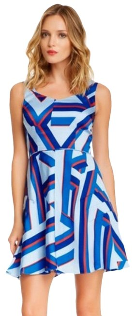 Item - Blue & Red Drea Print Mid-length Night Out Dress Size 2 (XS)