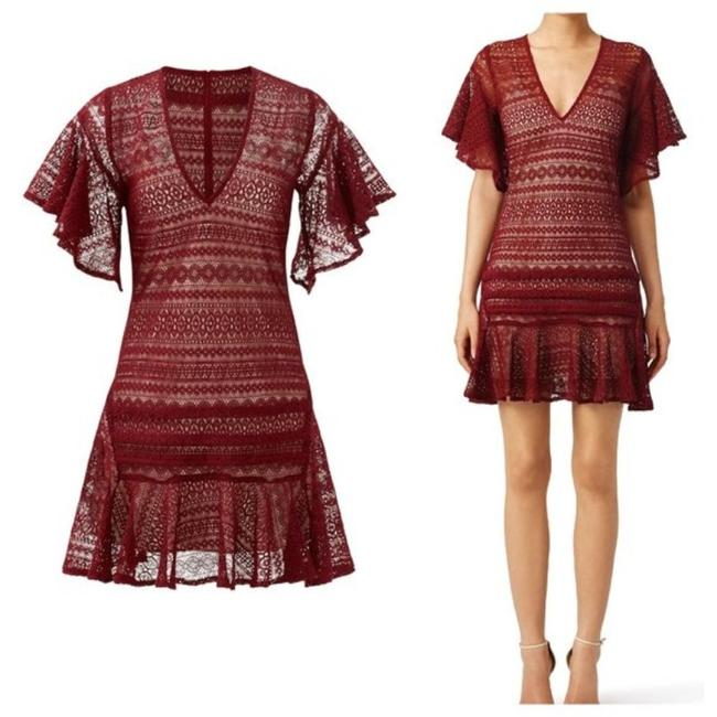 Item - Red Cybil Maroon Lace M Short Casual Dress Size 8 (M)