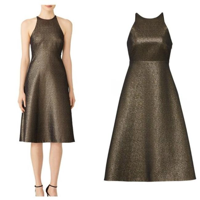 Halston Brown Gold Glitter Bow Back Mid-length Cocktail Dress Size 10 (M) Halston Brown Gold Glitter Bow Back Mid-length Cocktail Dress Size 10 (M) Image 1