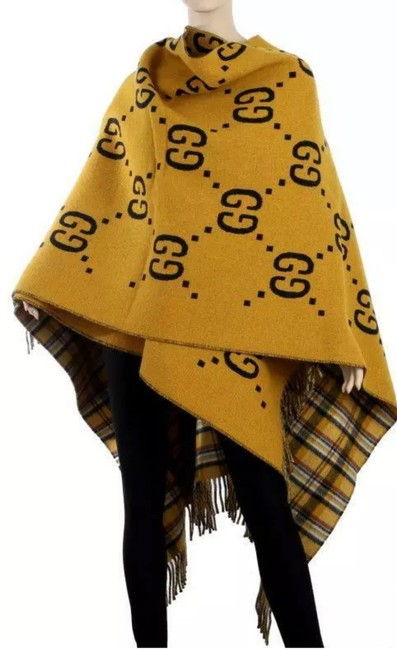 Item - Mustard and Dark Blue Gg New Current Reversible Wool Tartan Heavy Wool Jacket Poncho/Cape Size OS (one size)