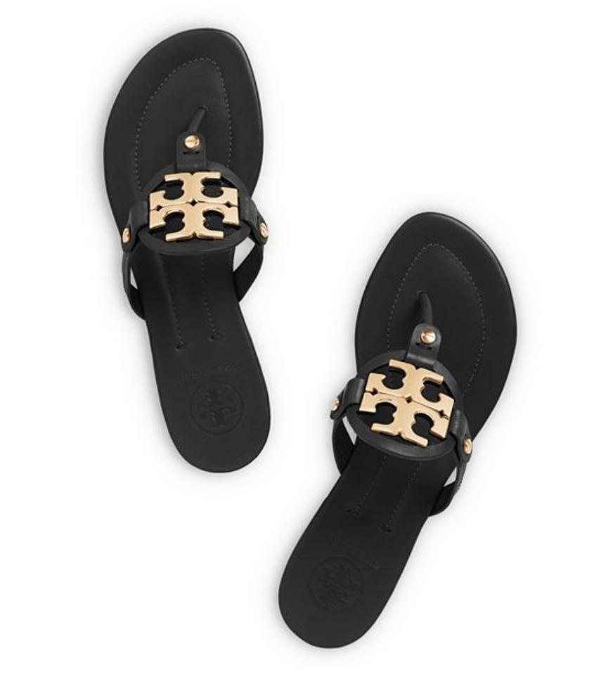 5f1c4421f9ff87 Tory Burch Leather Thong Slip-on Gold Gold Hardware Buckle Logo Monogram  Flats Flip- ...