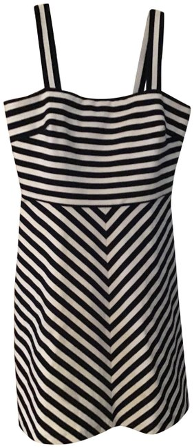 Item - Black and White Striped Mid-length Work/Office Dress Size 10 (M)