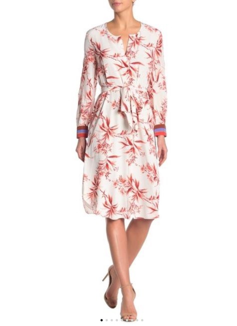 Joie Dark Coral and Cream with Periwinkle Blue and Rust Accents Jeanne Mid-length Casual Maxi Dress Size 6 (S) Joie Dark Coral and Cream with Periwinkle Blue and Rust Accents Jeanne Mid-length Casual Maxi Dress Size 6 (S) Image 1