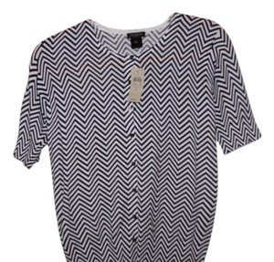 Ann Taylor Button Down Shirt black/white stripes