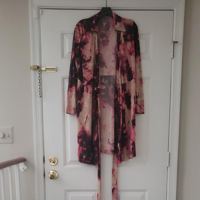 Item - Pink Brown and Black Abstract Multi Color Print Wrap Mid-length Work/Office Dress Size 10 (M)