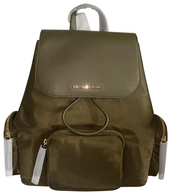 Item - Abbey Olive Green Nylon and Leather Backpack