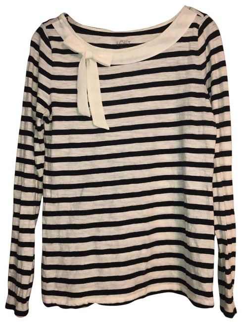 Item - Ivory and Black Striped with Bow Long Sleeve Tunic Size 10 (M)