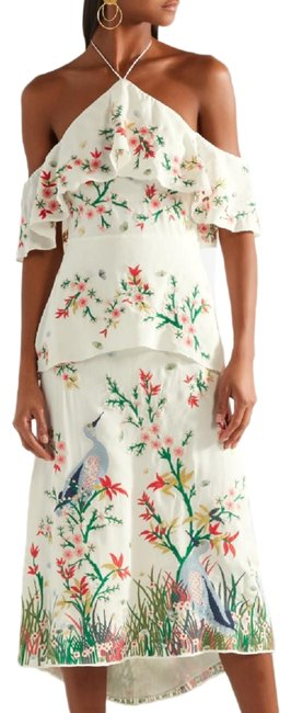 Item - Multicolor And Golda Embroidered Midi Halter Long Cocktail Dress Size 6 (S)