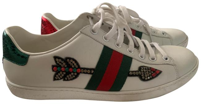 Item - White Green Red Ace Watersnake-trimmed Crystal-embellished Leather Sneakers Size EU 38.5 (Approx. US 8.5) Regular (M, B)