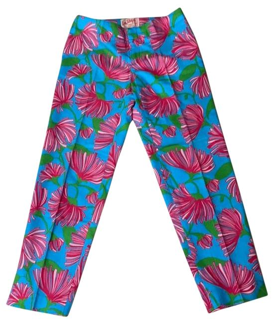 Item - Turquoise Pink Resort Fit Kissue Printed Capris Size 0 (XS, 25)