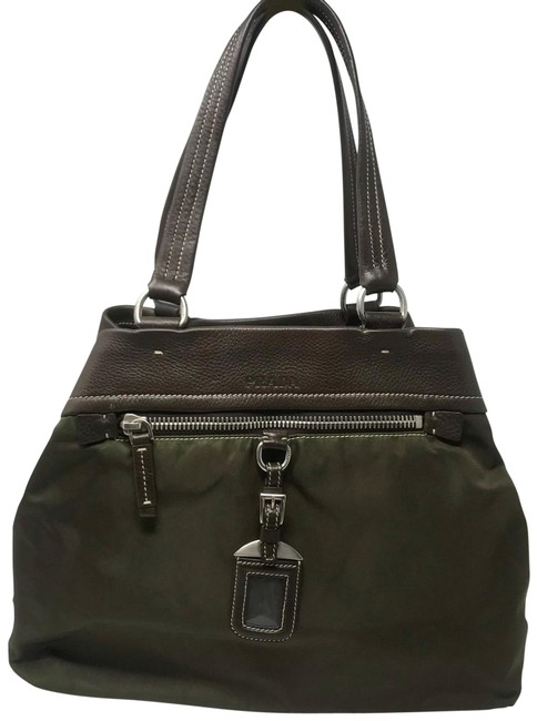 Item - Twin Handle Green & Brown Nylon Leather Tote