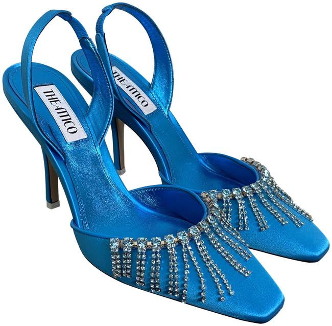 Item - Blue The Mara Turquoise Satin Crystal Fringe Slingback Pumps Size EU 39 (Approx. US 9) Regular (M, B)