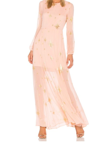 Item - Pink/Gold XS Gilded Star Maxi Long Cocktail Dress Size 0 (XS)